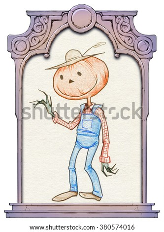 Funny cartoon Jack O Lantern in a farmer costume framed with a stone decorated hand drawn arch - stock photo