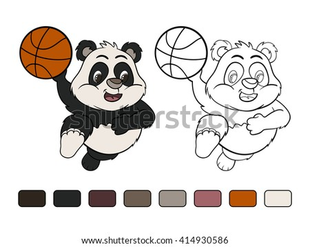 Funny cartoon little panda in a jump with  ball. Coloring book. Raster version - stock photo