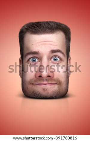 Funny cartoon portrait from man's face on color background