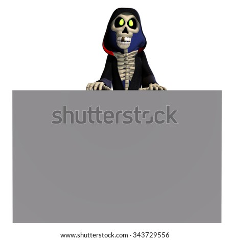 funny cartoon reaper invites you. 3D rendering with clipping path and shadow over white - stock photo