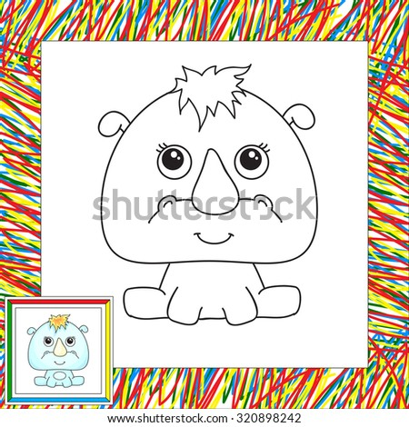 Funny cartoon rhino. Coloring book for kids - stock photo