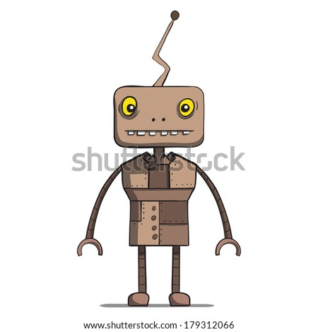 Funny cartoon robot. Rasterized copy .Vector version of this image can also be found in portfolio. - stock photo