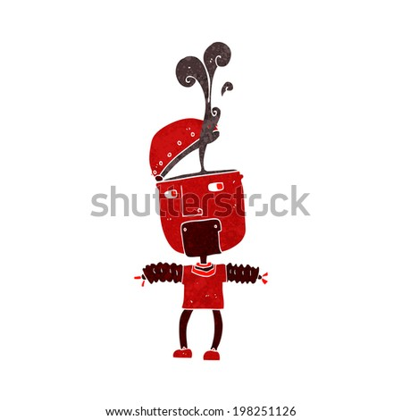 funny cartoon robot with open head