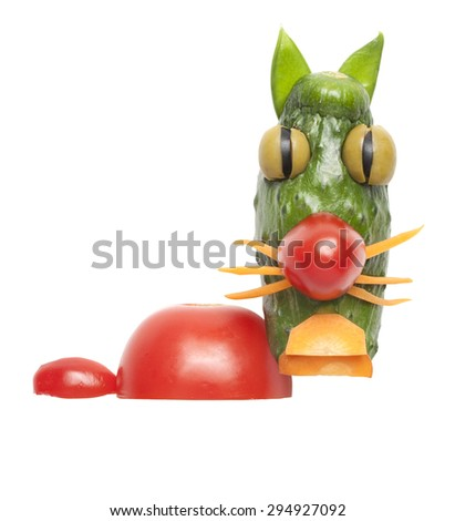 Funny cat made of vegetables