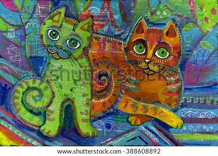 Funny cat, pet, animal - stock photo