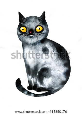 Funny cat. Wtercolor illustration
