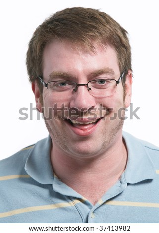 Funny caucasian young man isolated on white background - stock photo