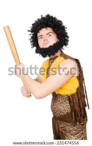 Funny cave man with baseball bat isolated on white - stock photo