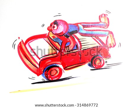 Funny character of red man on a red car, hand drawn - Illustration