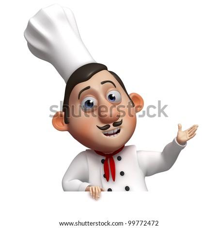 funny chef and empty board - stock photo