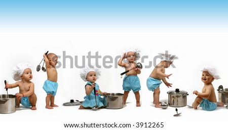 Funny Chef's isolate on a white background - stock photo