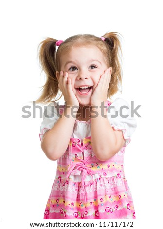 funny child girl with hands close to face isolated on white background