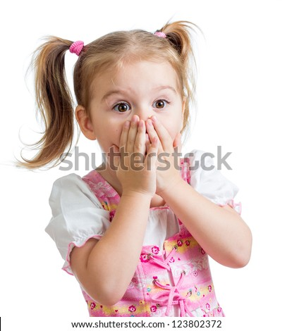 funny child girl with hands close to face isolated on white background - stock photo