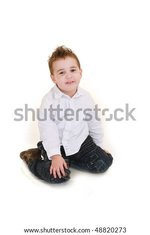 Funny child isolated on white background