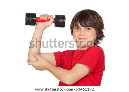 Funny child playing sports with weights isolated on white background - stock photo