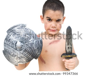 Funny child playing to be a gladiator or an ancient soldier isolated on a white background - stock photo