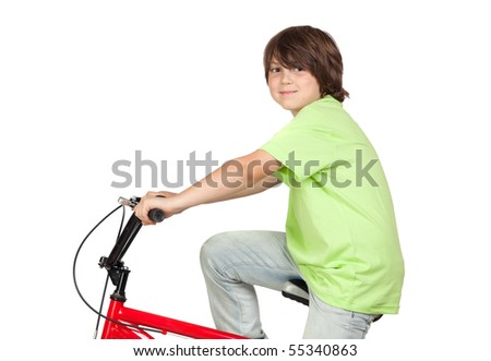 Funny child practicing bike isolated on white background