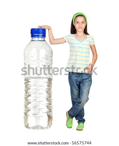 Funny child with a big water bottle isolated on white background - stock photo