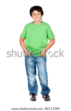 Funny child with green t-shirt isolated on white background