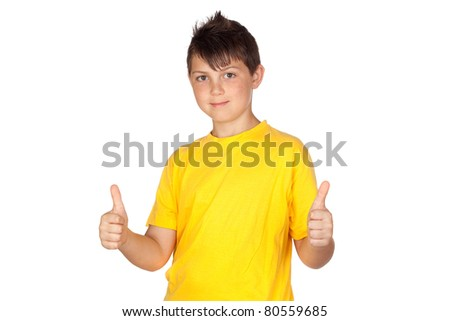 Funny child with yellow t-shirt saying Ok isolated on white background