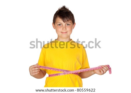 Funny child with yellow t-shirt with a tape measure isolated on white background - stock photo