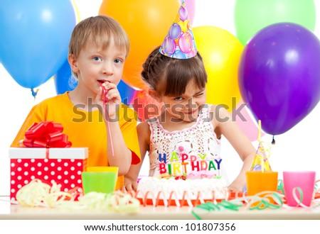 funny children celebrating birthday party - stock photo