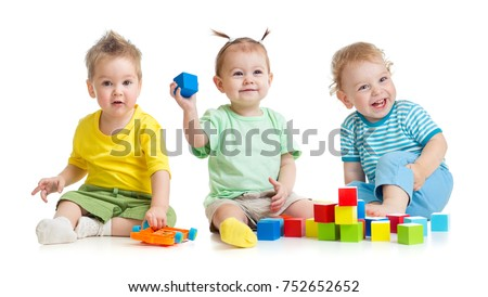 Funny children group playing colorful toys isolated