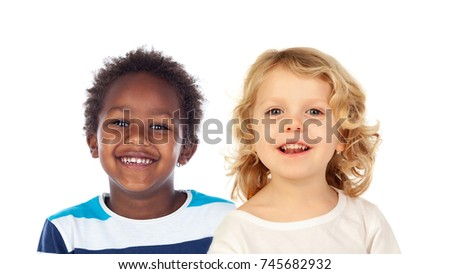 Funny children laughing isolated on a white background