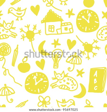 Funny children seamless pattern with cats and clocks - stock photo