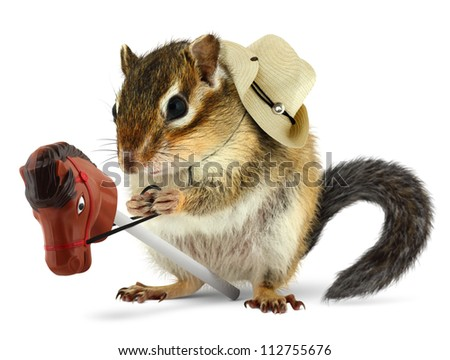 Funny chipmunk cowboy with stick horse on white - stock photo