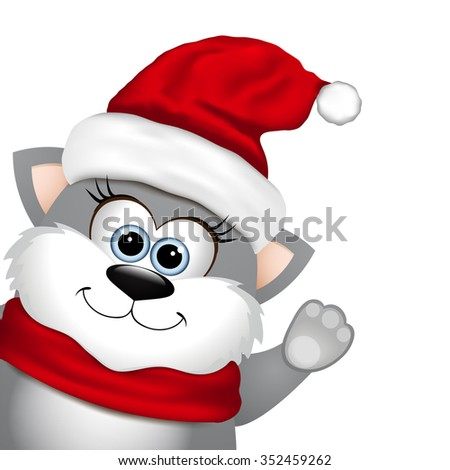 Funny Christmas cat on a white background. - stock photo