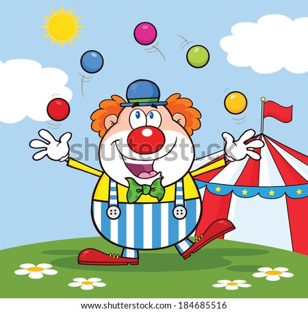 Cartoon Clown Circus Tent Stock Image Clipart Vector Pictures