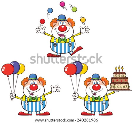Funny Clown Cartoon Character 1. Raster Collection Set - stock photo