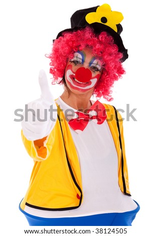 funny clown gesturing OK (isolated on white) - stock photo