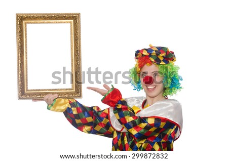 Funny clown girl with frame isolated on white - stock photo