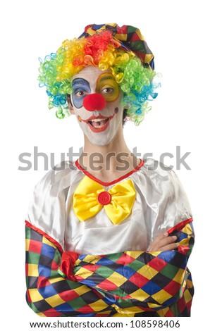 Funny clown on the white - stock photo
