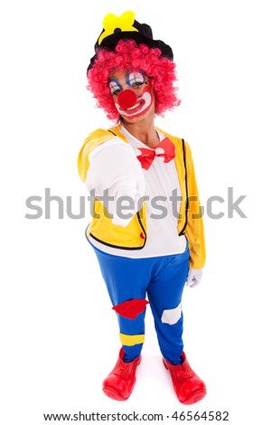 funny clown pointing to you (isolated on white)