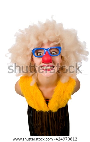 Funny clown woman isolated on the white - stock photo