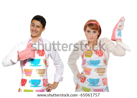 Funny collage with cooking couple - man in apron and one chef woman. isolated on white background