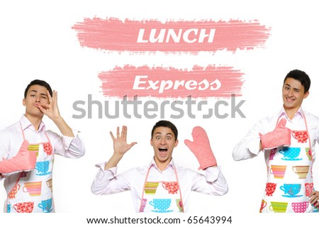 Funny collage with three cooking men in apron and text lunch express. isolated on white background