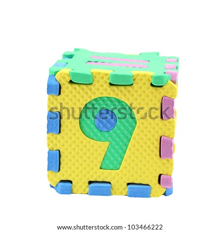 funny colored paper number nine