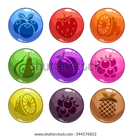 Funny colorful bubbles with fruit icons incide, isolated on white, funny game assets - stock photo