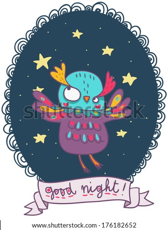 funny colorful owl good night artistic illustration