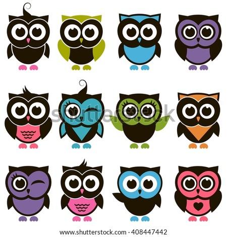 Funny colorful Owl set. Raster version - stock photo