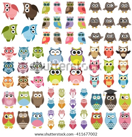 Funny colorful owls set. Raster version - stock photo