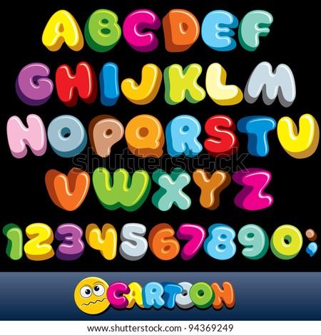 Funny Comics Font. Cartoon Alphabet with All Letters and Numbers - stock photo