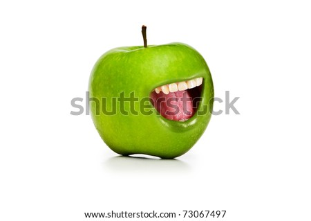 Funny concept with apple and open mouth - stock photo