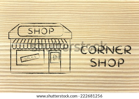 funny corner shop design with sale or marketing promotional offer