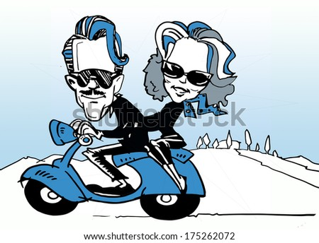 funny couple driving a scooter