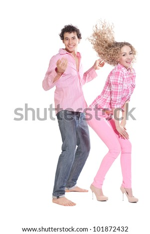 funny couple isolated on white - stock photo